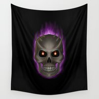 evil Wall Tapestries featuring Evil Skull by Egberto Fuentes
