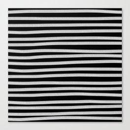 Black and White Brush Stroke Stripes Canvas Print