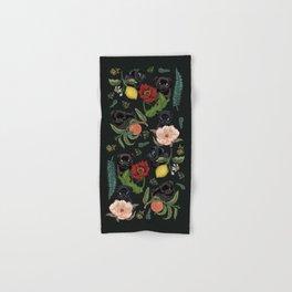 Botanical and Black Pugs Hand & Bath Towel