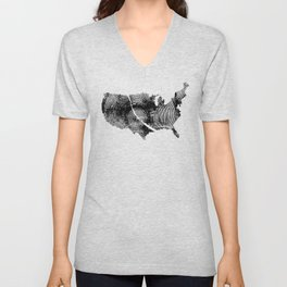United States Print, Tree rings, Tree stump, Wood grain, Tree ring art Unisex V-Neck