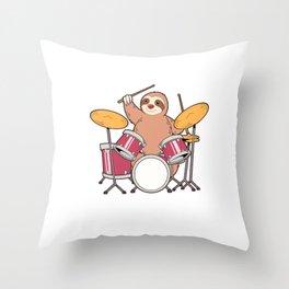 Sloth Drumming Gift Print Slow Jam Drummer Present Print Throw Pillow