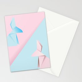 Pink and blue origami rabbit Stationery Cards