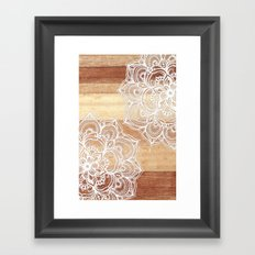 White doodles on blonde wood - neutral / nude colors Framed Art Print
