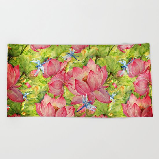 Floral Lotus Flowers Pattern with Dragonfly Beach Towel