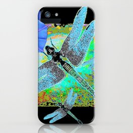 BLUE DRAGONFLIES MORNING GLORIES BLACK ART iPhone Case