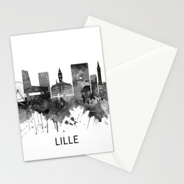 Lille France Skyline BW Stationery Cards