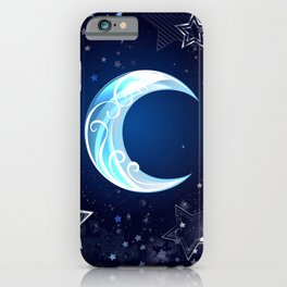 Background with a blue moon iPhone Case