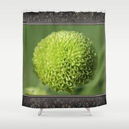 Green Button Pom Chrysanthemum Shower Curtain