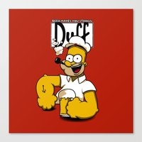 popeye Canvas Prints featuring Homer-Popeye by le.duc