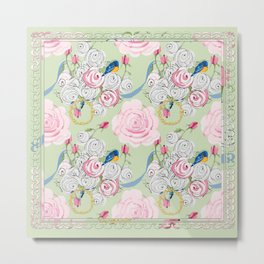 Shabby Chic Bluebirds and Roses Metal Print