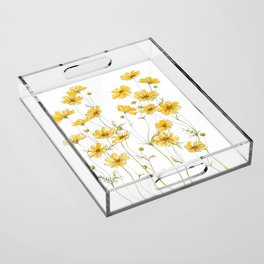 Yellow Cosmos Flowers Acrylic Tray