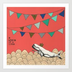 A whale of a time in pink Art Print