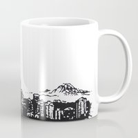 seattle Mugs featuring Seattle. by Dioptri Art