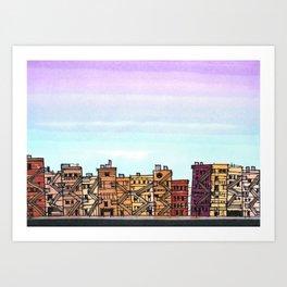 New York Purple Sky Art Print