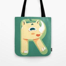 R for Rhino Tote Bag