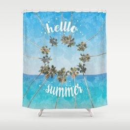 hello summer palm trees design 2 Shower Curtain