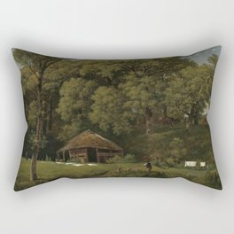 A Barn on the Bank of a Stream in Gelderland - Wouter Johannes van Troostwijk (1805 - 1810) Rectangular Pillow