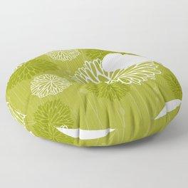 Pom Poms & Birds in Green by Friztin Floor Pillow