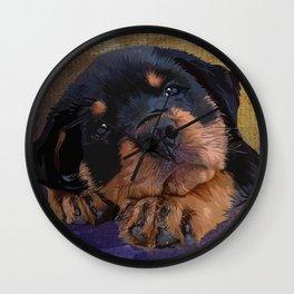 Cute Rottweiler Puppy Wall Clock