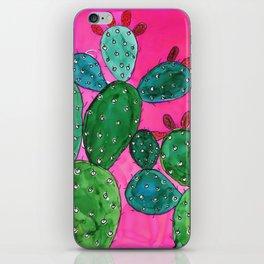 Cactus doodle - alcohol ink iPhone Skin