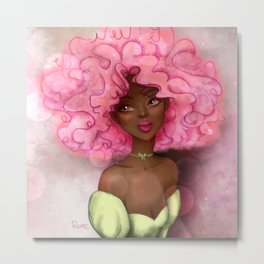 ROSE AFRO LADY Metal Print