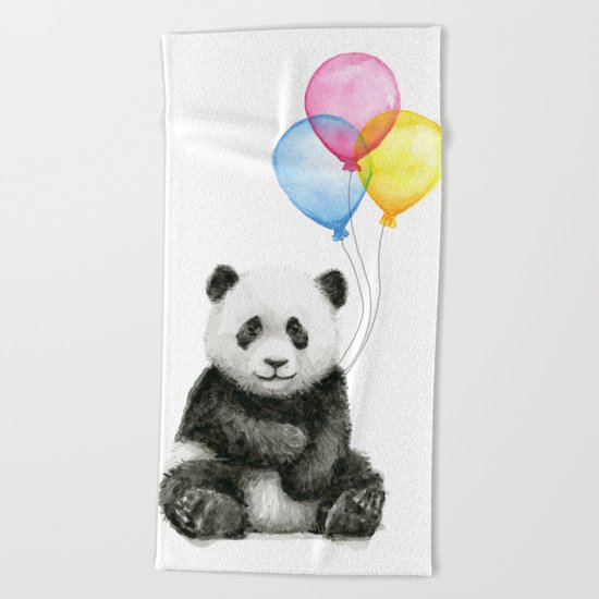 Panda Baby with Balloons Whimsical Nursery Animals Beach Towel
