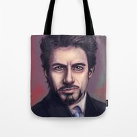 tony stark Tote Bags featuring Tony Stark by pandatails