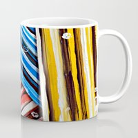 striped Mugs featuring Striped Planes by Claudia McBain
