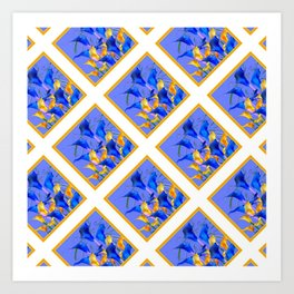 PATTERNED MODERN ABSTRACT BLUE & GOLD CALLA LILIES Art Print