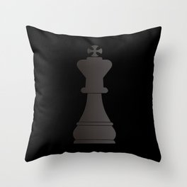 Black king chess piece Throw Pillow