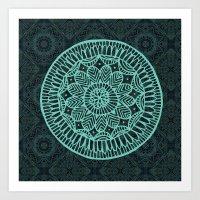 Blue Doodle Mandala Art Print