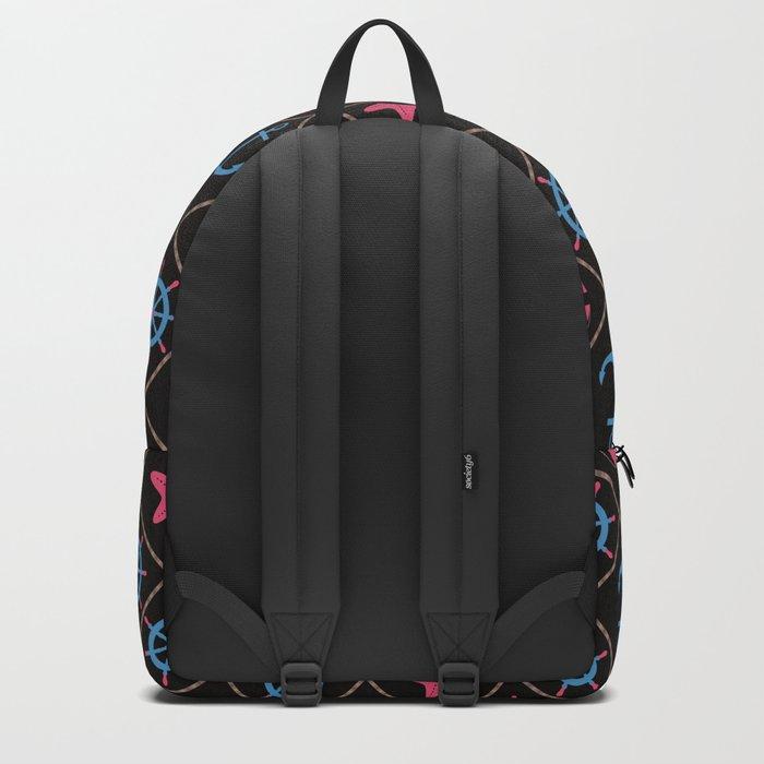 Nautical decor on black background . Backpack