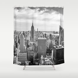 New York City Cityscape (Black and White) Shower Curtain
