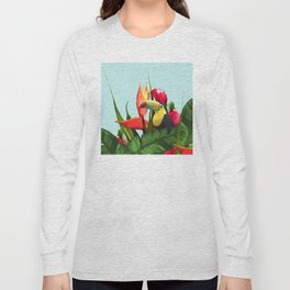 Toucan Tropical Banana Leaves Bouquet Long Sleeve T-shirt