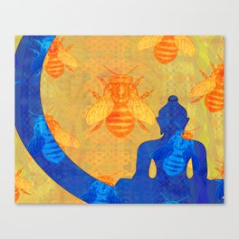 Buddha with Bees in Blue and Gold Canvas Print