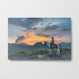 Sunset at Mount Bromo, East Java, Indonesia Metal Print