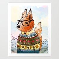 hipsta Squirrel Art Print