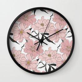 Peony flower bloom Wall Clock