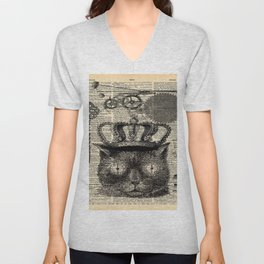 dictionary print steampunk gear halloween spooky black cat Unisex V-Neck