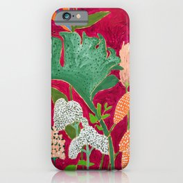 Magenta Jungle Painting, Monstera, Birds of Paradise Floral on Pink Jewel Tone iPhone Case
