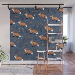 Fox woodland garden night navy blue orange autumn forest animals neutral Wall Mural