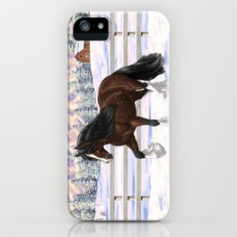 Beautiful Brown & White Bay Gypsy Vanner Draft Horse In Snow iPhone Case