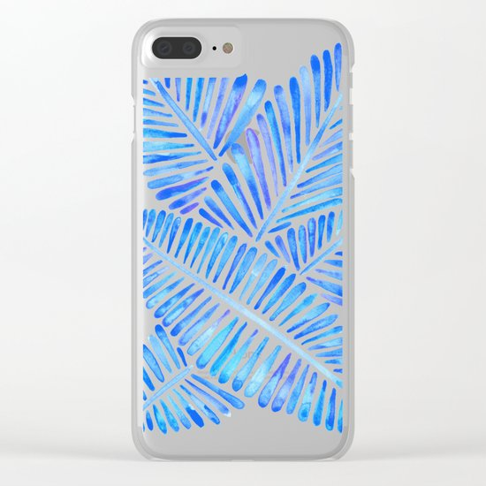 Tropical Banana Leaves – Blue Palette Clear iPhone Case