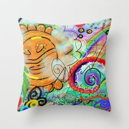 Taino Echoes - Puerto Rico Tribal Ethnic Art Throw Pillow