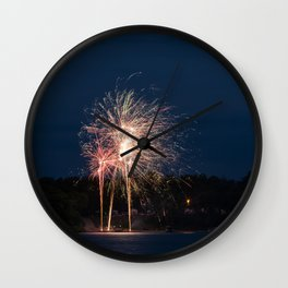 Fireworks Over Lake 25 Wall Clock