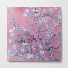"""Van Gogh's """"Almond blossoms"""" with pink background Metal Print"""