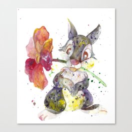 Thumper With Flower Canvas Print