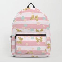 Gold glittering butterflies confetti seamless pattern Backpack