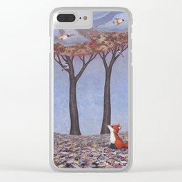 fox and chickadees Clear iPhone Case
