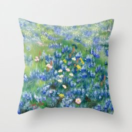 Spring Flowers in Texas Throw Pillow